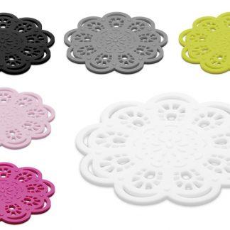 Glasunderlägg Spets i silikon - KG Design (Ljus rosa)